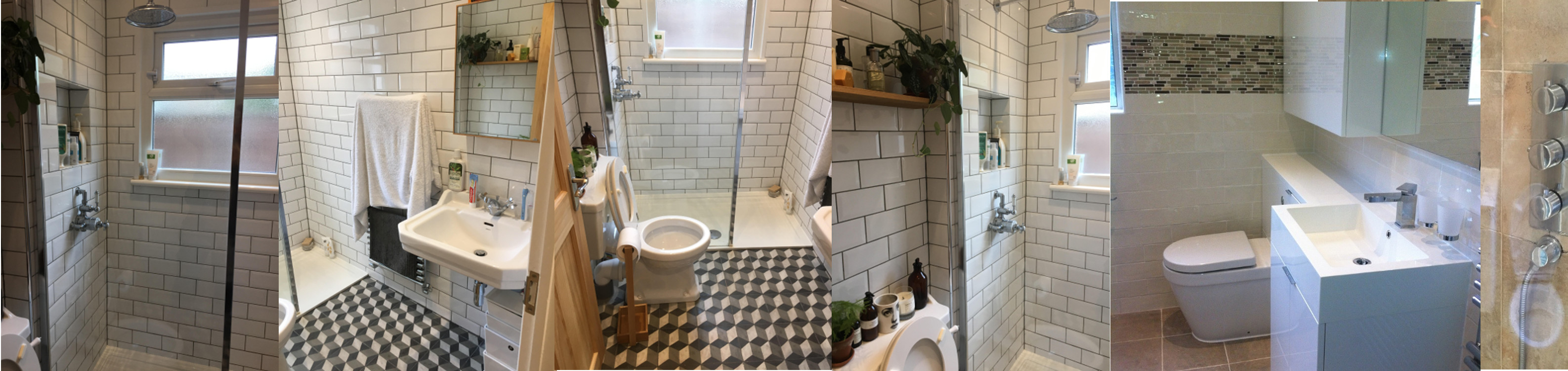OHM install new bathroom with tiles, toilets and cabinates